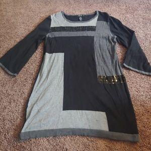Style&co black&gray 3/4 sleeve tunic sweater